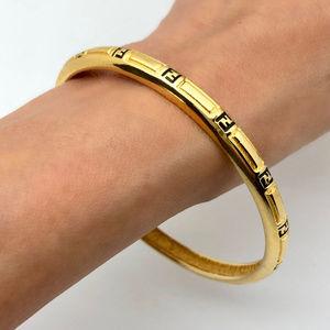 Fendi Jewelry - Fendi Vintage Zucca 18k Gold Plated Bangle Size L